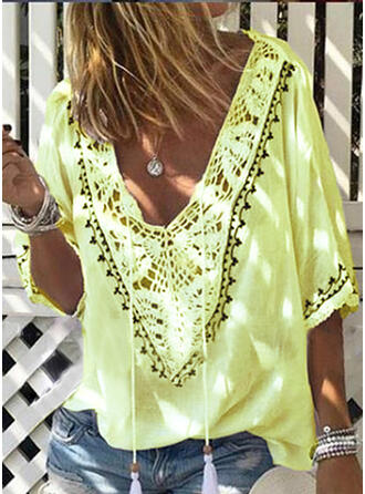 Solid Lace V-Neck 3/4 Sleeves Casual Knit T-shirt