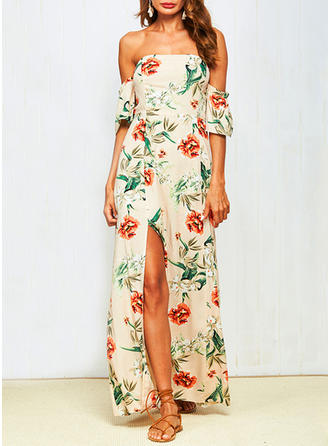 Bohemian Slit Off-the-Shoulder Maxi A-line Dress