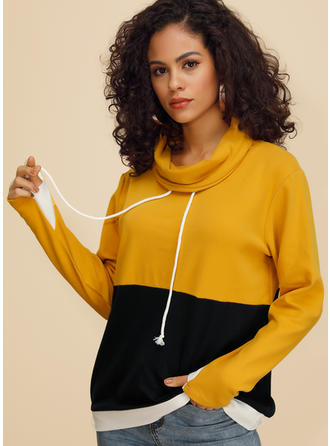 Color Block Long Sleeves Casual Knit Blouses