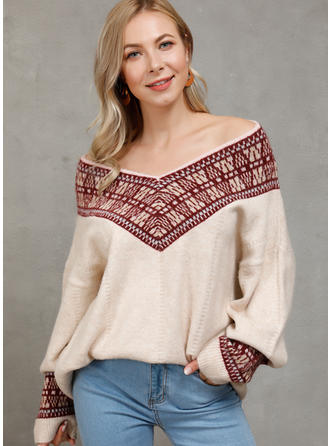 Drucken V-Ausschnitt Pullover