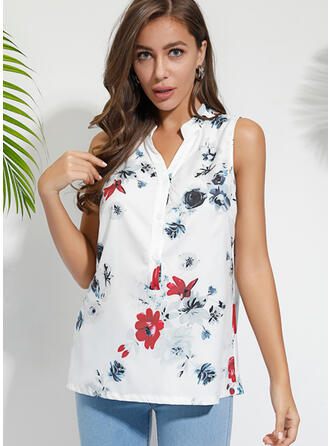 Print Floral V-Neck Sleeveless Button Up Casual Blouses