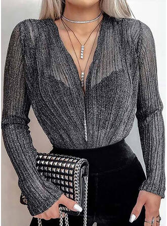 Einfarbig V-Ausschnitt Lange Ärmel Elegant Blusen