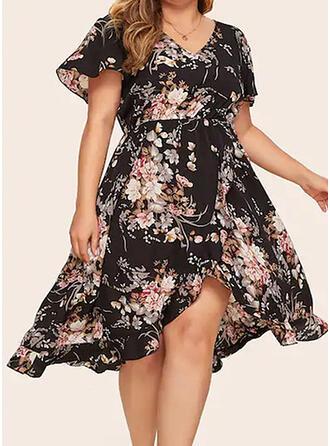 Print/Floral Short Sleeves A-line Knee Length Casual/Elegant/Plus Size Dresses