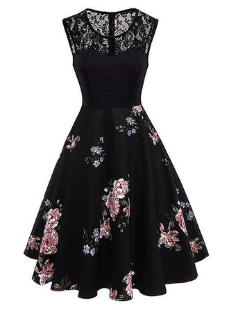 Lace/Print Sleeveless A-line Knee Length Vintage Dresses