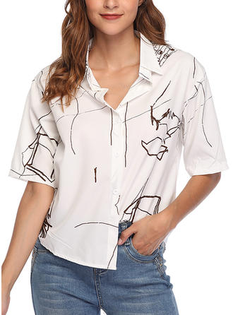 Print Lapel 1/2 Sleeves Button Up Casual Elegant Shirt Blouses