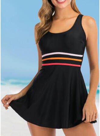 Stripe U-Neck Eye-catching Casual Swimdresses Swimsuits