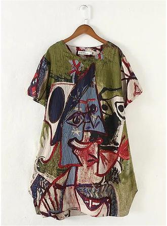 Print Round Neck Short Sleeves Casual Elegant Blouses
