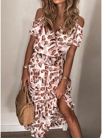 Print Short Sleeves/Cold Shoulder Sleeve A-line Casual/Vacation Midi Dresses