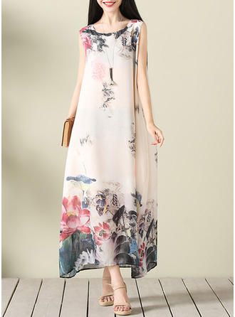 Print Floral Round Neck Midi Shift Dress