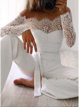 Lace Solid Off the Shoulder Long Sleeves Casual Jumpsuit