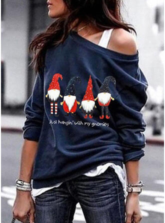 Print One-Shoulder Long Sleeves Casual Christmas Knit T-shirts