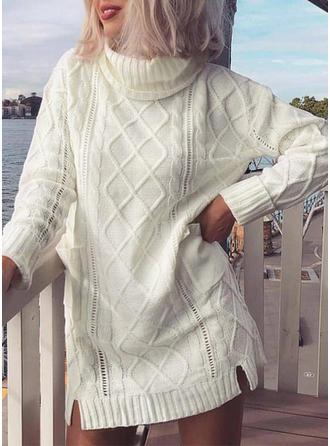 Coton Col Roulé Couleur unie Pulls Tricot à Câble gros tricot