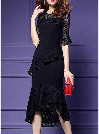 Lace Solid Round Neck Asymmetrical Sheath Dress