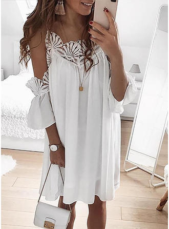 Lace/Solid Long Sleeves/Cold Shoulder Sleeve Shift Knee Length Casual/Elegant Dresses
