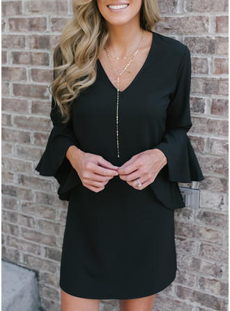 Solid Long Sleeves/Flare Sleeves Shift Above Knee Little Black/Casual Dresses
