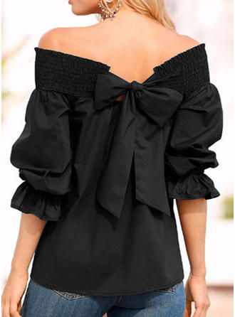 Polyester Off the Shoulder Plain 1/2 Sleeves Casual Blouses