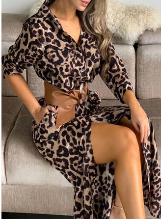 Leopard Long Sleeves Sheath Casual/Vacation Maxi Dresses