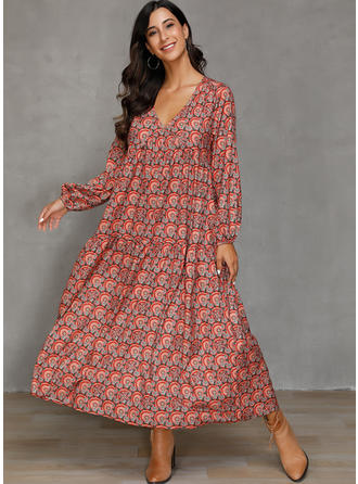 Print 3/4 Sleeves Shift Maxi Casual/Boho/Vacation Dresses