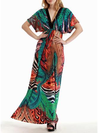 Print A-line Maxi Dresses