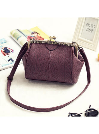 Women Vintage Kiss Lock Bags PU Leather Crossbody Bags