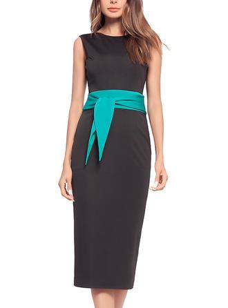 Color-block Round Neck Knee Length Sheath Dress