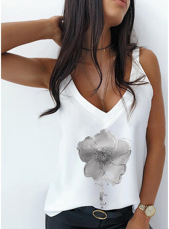 Figure Floral Print V-Neck Sleeveless Tank Tops