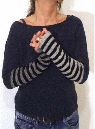 Striped Cable-knit Chunky knit Round Neck Sweaters
