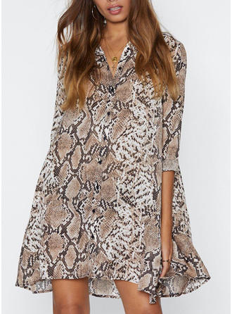 Animal Print 3/4 Sleeves Shift Knee Length Casual/Elegant Dresses