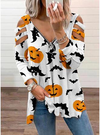 Halloween Druck Tier Schulterfrei Lange Ärmel T-Shirts