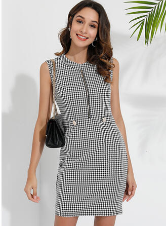 Print Sleeveless Bodycon Above Knee Casual/Elegant Dresses