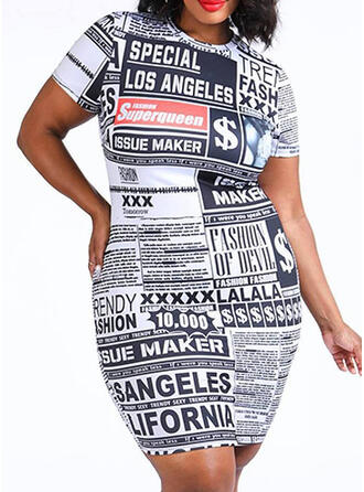 Print Short Sleeves Bodycon Above Knee Casual/Plus Size Dresses