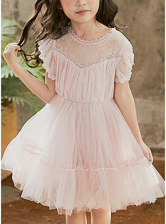 Girls Round Neck Solid Cute Party Dress