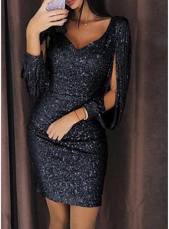 Podzielone rękawy Typu bodycon Nad kolanem Seksowny/Imprezę Sukienki