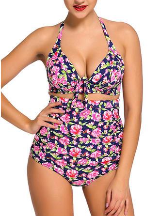 Floral Halter Bikini Swimsuit