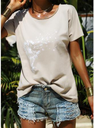Paardebloem Print Ronde Hals Korte Mouwen T-shirts