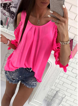 Polyester Round Neck Plain Long Sleeves Casual Blouses