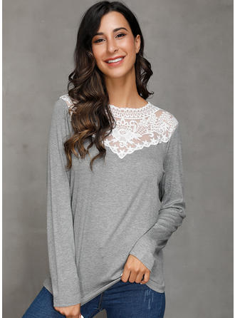 Lace Round Neck Long Sleeves Casual Sexy Knit Blouses
