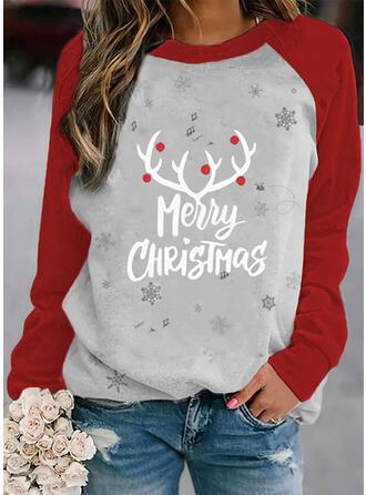 Print Color Block Figuur Ronde nek Lange Mouwen Kerst Sweatshirt