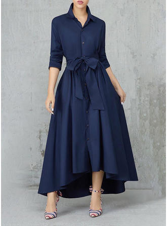 Solid Shirt collar Asymmetrical A-line Dress