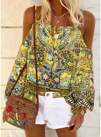 Print Cold Shoulder Long Sleeves Sexy Blouses