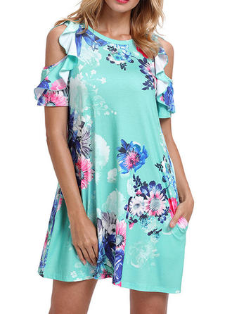 Short Sleeves Shift Above Knee Casual/Vacation Dresses