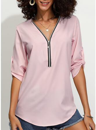 Solide V-hals 1/2 Mouwen Casual Blouses