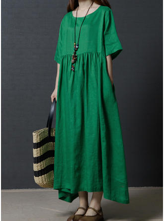 Cotton/Linen With Solid Maxi Dress
