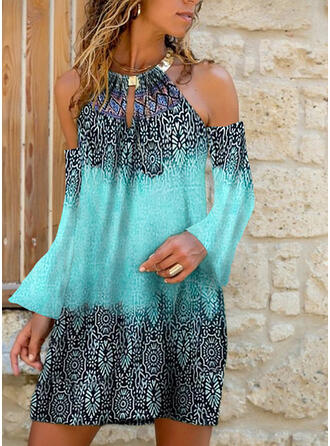 Print Cold Shoulder Sleeve Shift Above Knee Casual Dresses