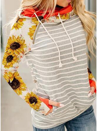 Stribe Sunflower Print Lange ærmer Hoodie