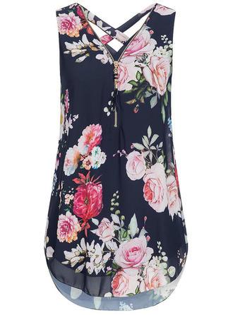 Floral V Neck Sleeveless Casual Shirt Blouses