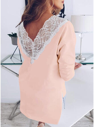 Solid Lace Round Neck Long Sleeves Casual Elegant T-shirts