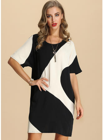 Color-block 1/2 Sleeves Shift Above Knee Casual Dresses