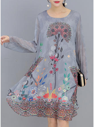 Print Floral Round Neck Knee Length Shift Dress