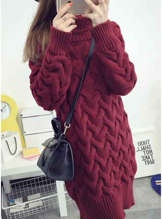 Mohair Polyester Turtleneck Plain chunky knit Sweater Dress